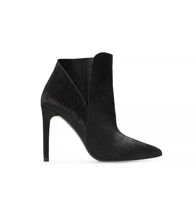 Zara Leather High Heel Boot with Fur