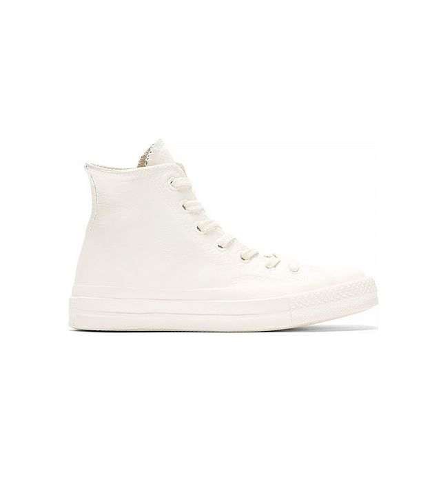 Converse X Maison Martin Margiela White & Blue Painted High Top Sneakers