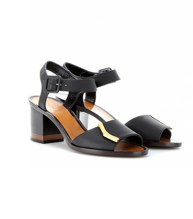 Fendi Block Heel Leather Sandal