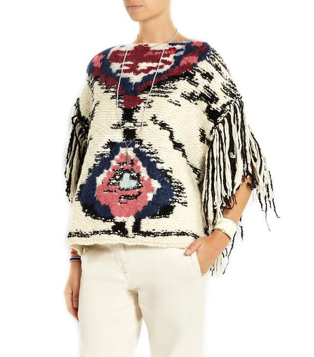 Étoile Isabel Marant Shanon Jacquard Knit Wool-Blend Poncho