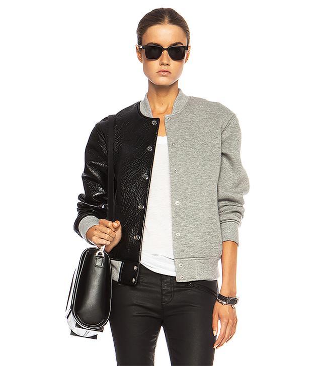 T By Alexander Wang Leather & Neoprene Half Half Varsity Jacket in Grey & Black