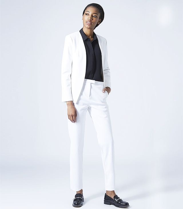 Topshop Textured Scuba Blazer and Cigarette Trousers