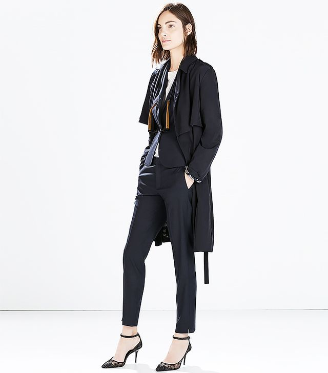 Zara Cropped Trousers with Slit at Hem