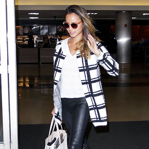 Jamie Chung black and white coat