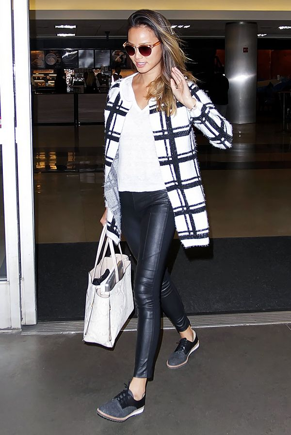 Printed Coat + Leather Pants = Football Game Outfit