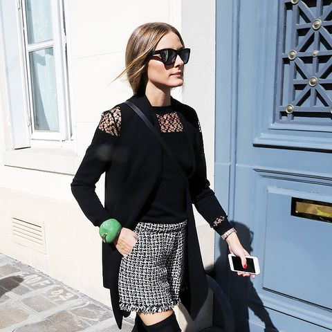 Olivia Palermo, tweed shorts and knee-high boots