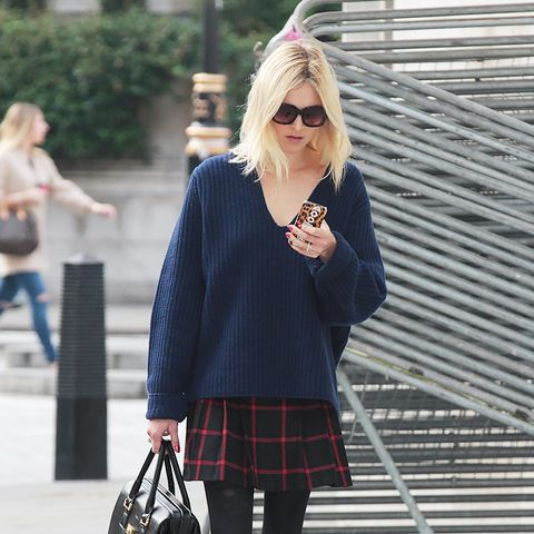 Fearne Cotton, plaid skirt and sweater