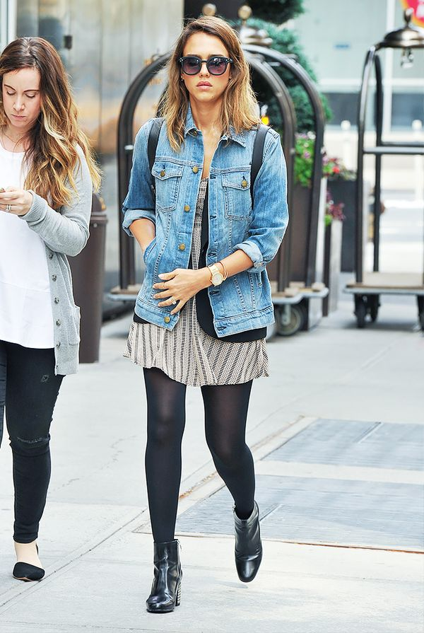 Oversized Denim Jacket + Dress + Black Tights = Movie Date Outfit