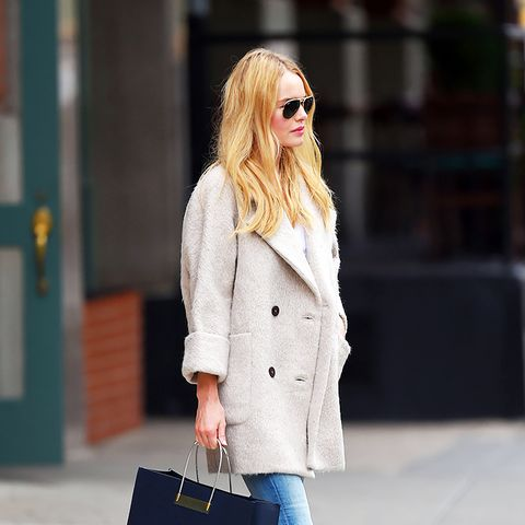 Kate Bosworth street style, coat, jeans, Balenciaga bag