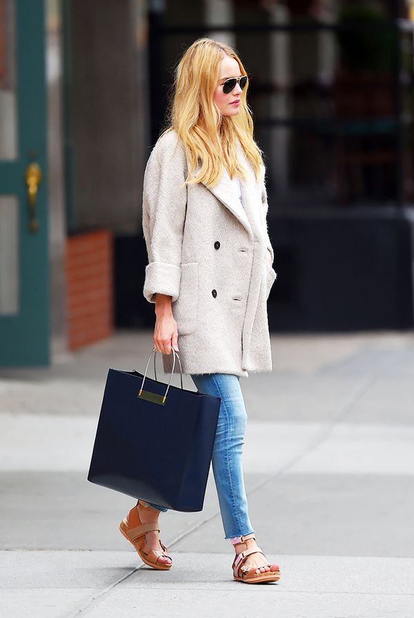 Bracelet-Sleeve Coat + Skinny Jeans = Fall Shopping Outfit