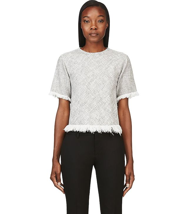 T by Alexander Wang Cotton Burlap Frayed and Cropped Shirt