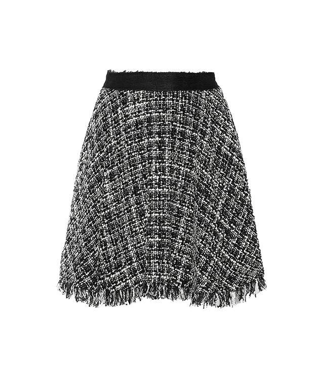 MSGM Frayed Boucle-Tweed Skirt