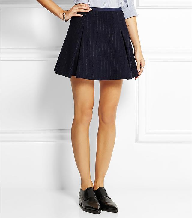 Sacai Luck Pinstriped Wool-Blend Mini Skirt