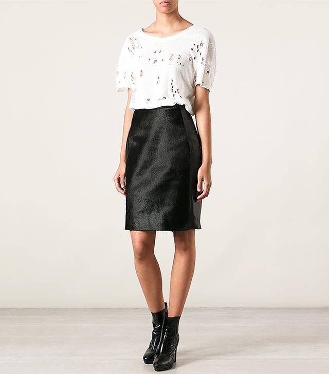 Muubaa Fur Panel Leather Pencil Skirt