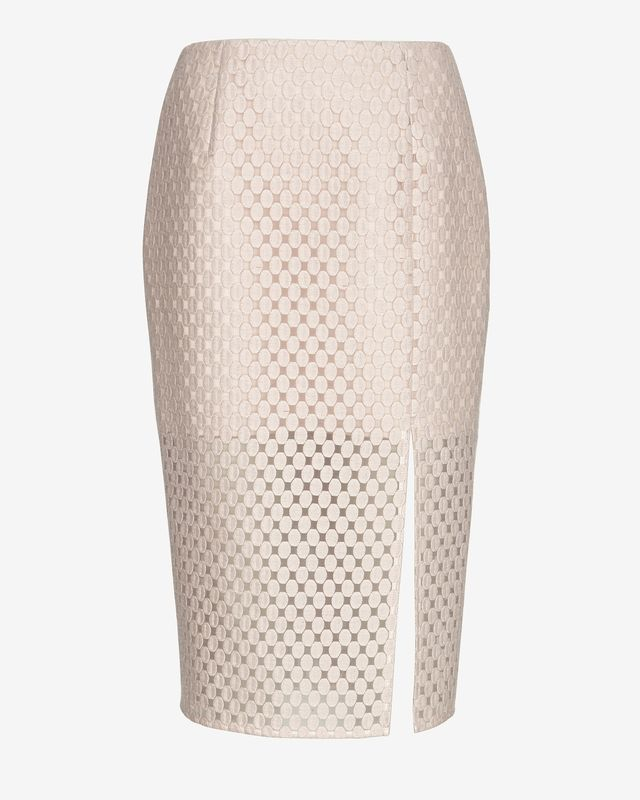 Intermix Embroidered Lace Pencil Skirt