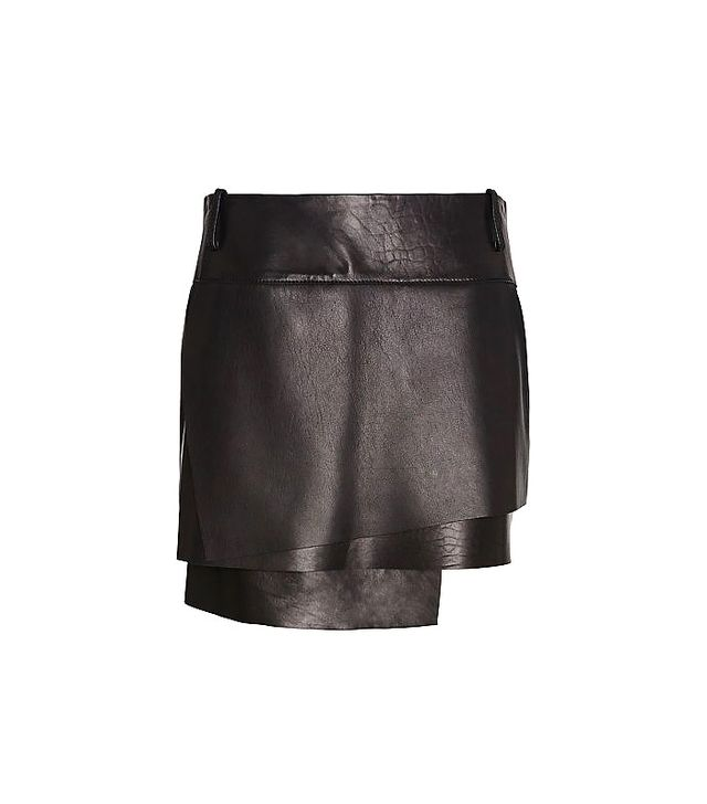 Helmut Lang Petal Layered Leather Skirt