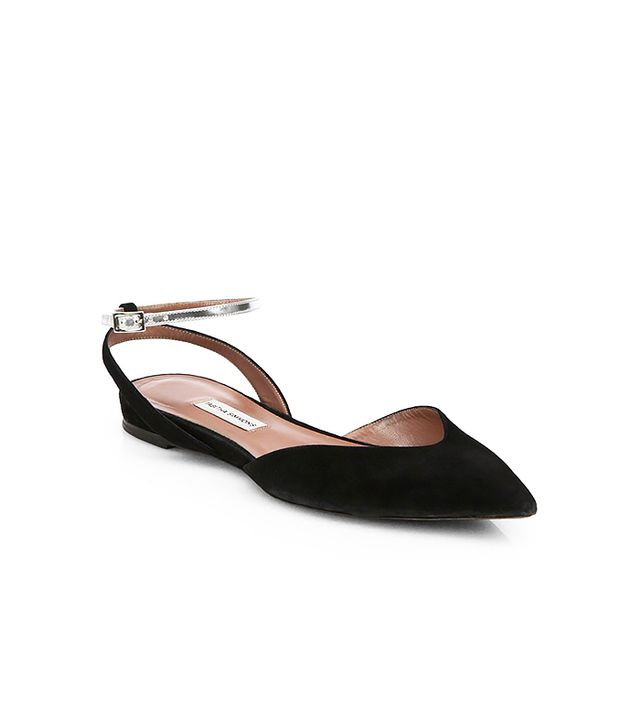Tabitha Simmons Vera Suede & Metallic Leather Ankle-Strap Flats