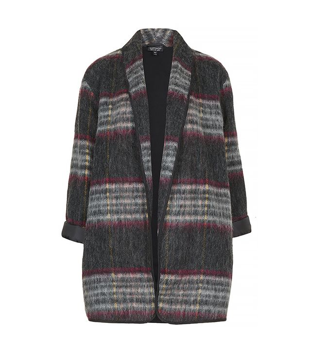 Topshop Fluffy Wool Check Duster Jacket