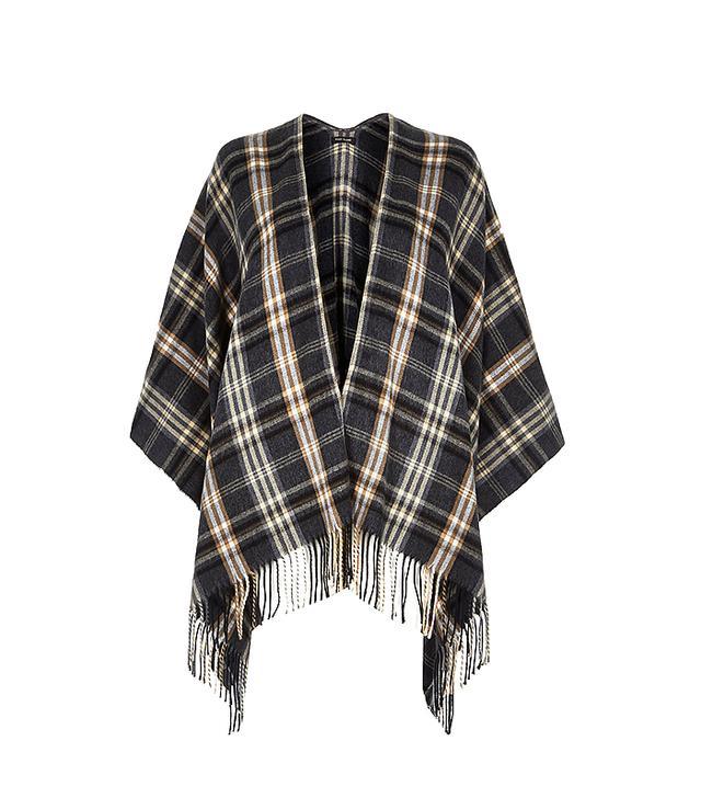River Island Grey Plaid Check Blanket Coat