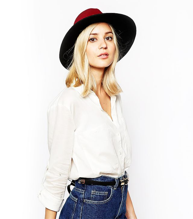 River Island Colour Block Fedora Hat with Studded Trim