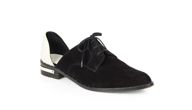Freda Salvador Wit Suede & Embossed-Leather Lace-Up Flats