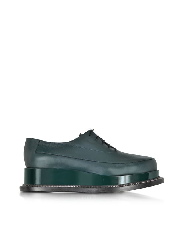 Jil Sander Pine Green Leather Creeper Lace-up Shoe