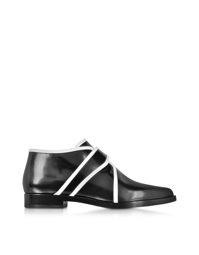 Kenzo Black and White Leather Slip-on Derby