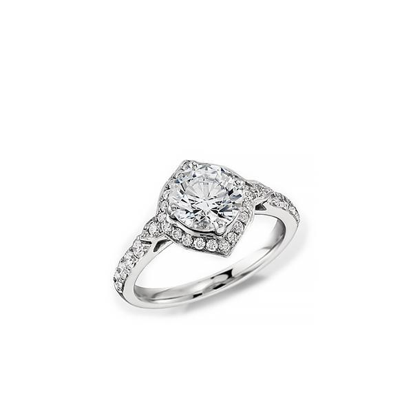 Monique Lhuillier Art Deco Halo Engagement Ring