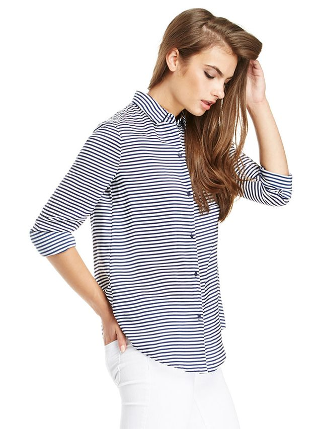 Daily Look Striped Button Up Blouse