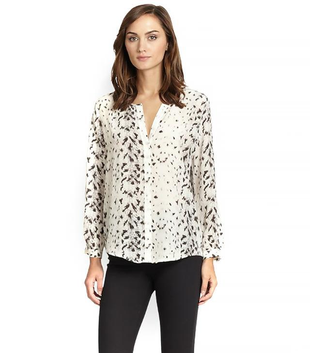 Joie Purine Leopard-Print Silk Blouse