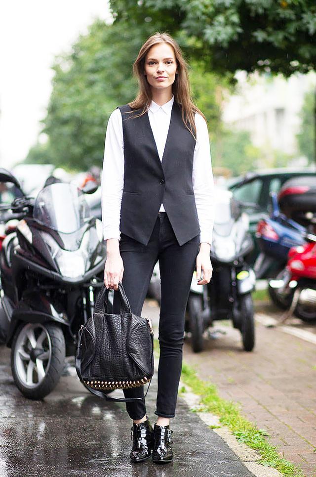 Tip: Sleek vest + patent boots = a killer combination.