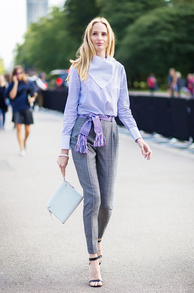 Tip: A tasseled belt adds bohemian flair to conservative staples.