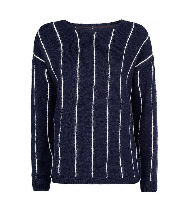 Mango Pinstripe Wool Cotton-Blend Sweater