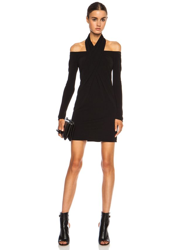 Alexander Wang Open Shoulder Scarf Draped Viscose-Blend Dress