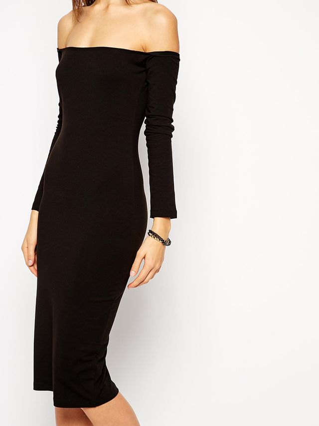 Asos Long Sleeve Bardot Midi Body-Conscious Dress