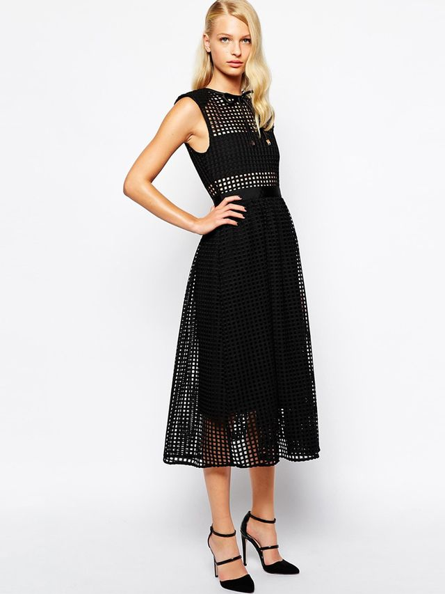 Self Portrait Freya Midi Dress In Graphic Lace With Neck Tie