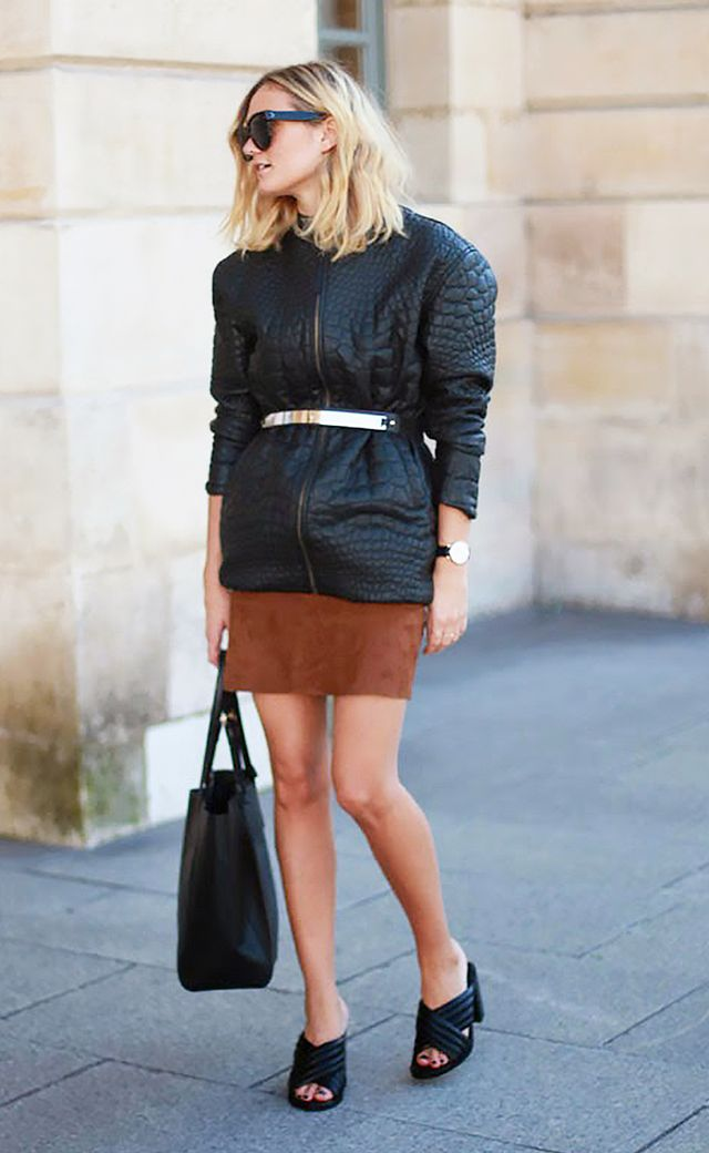 1. Wear suede pieces in rustic colours.
