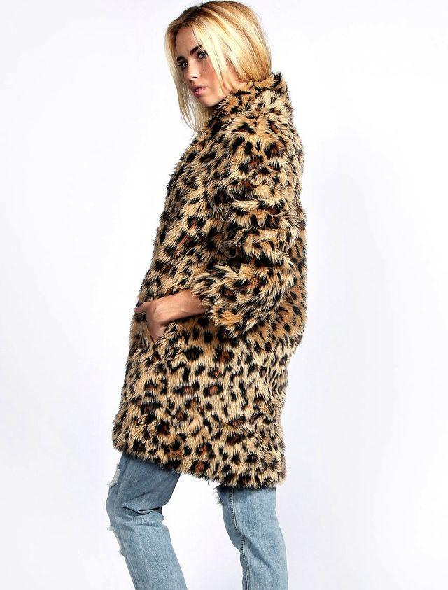 Boohoo Charlotte Leopard Fur Coat