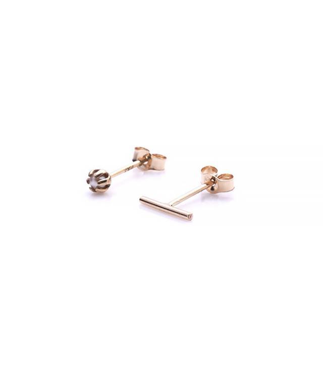 Sarah & Sebastian Pearl & Line Earrings