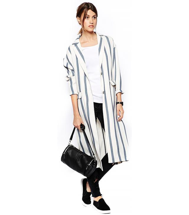 ASOS WHITE Striped Duster Coat
