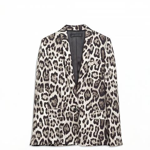 Straight Cut Leopard Print Blazer