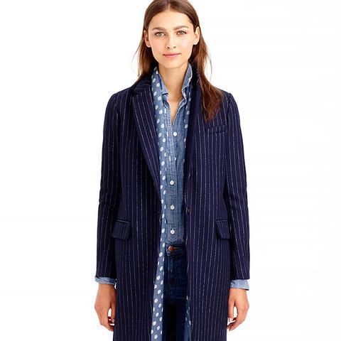 Wool Pinstripe Coat
