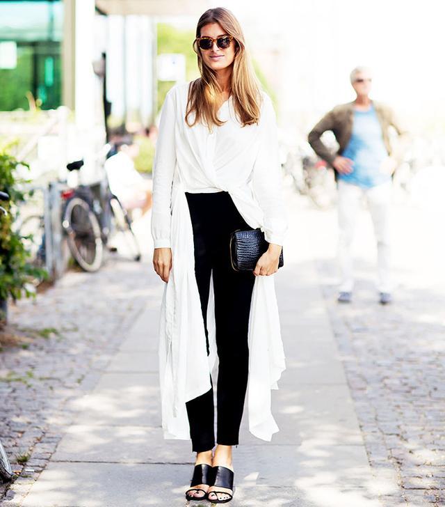 On Stephanie Gundelach: Rodebjer Shirt-Dress ($390) in Art White; Zara pants; Opening Ceremony sandals; Folk & Frame sunglasses.
