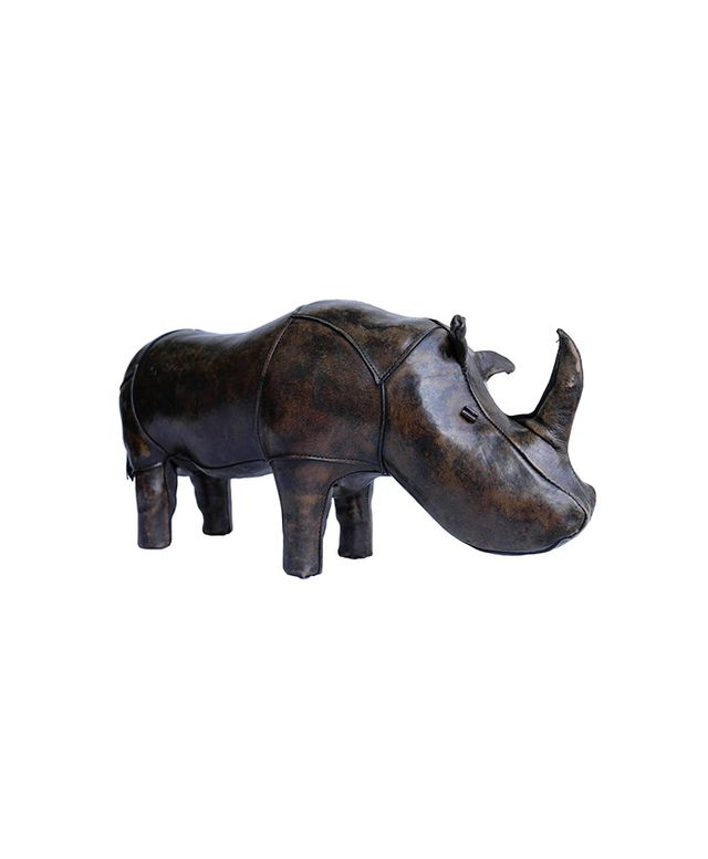 1st Dibs Leather Rhino by Dimitri Omersa for Abercrombie & Fitch