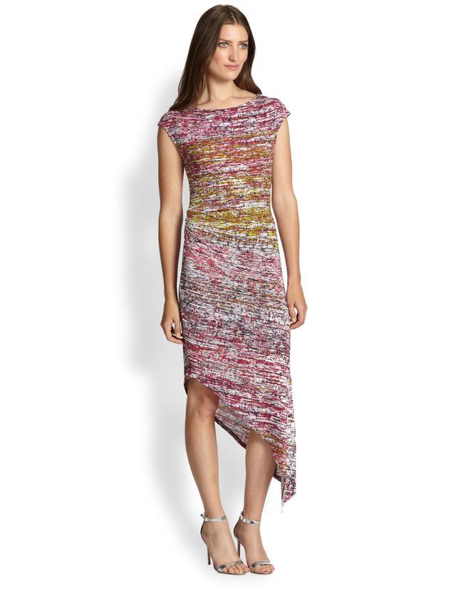 BCBGMAXAZRIA Jennifer Printed Stretch Jersey Asymmetrical Dress
