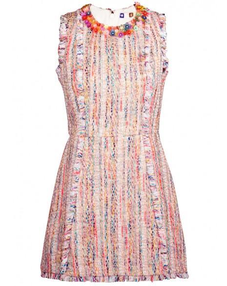 MSGM Floral Applique Tweed Dress