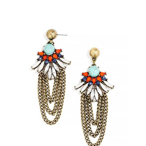 Turquoise Feather Drop Earrings ($