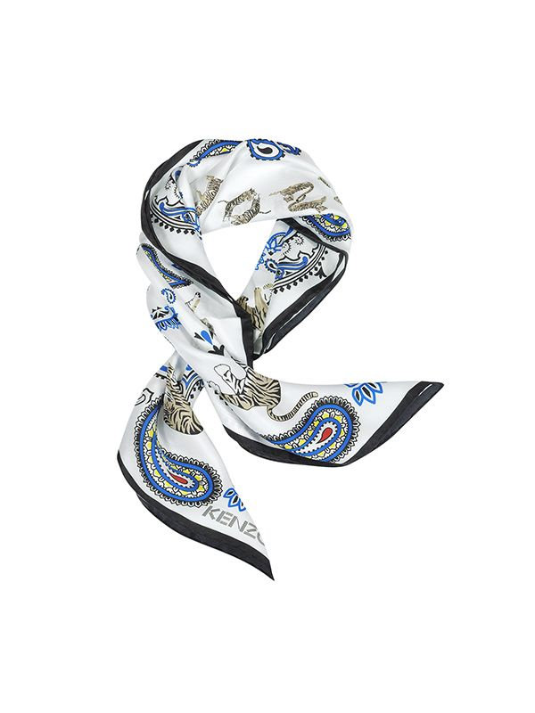 Kenzo Pure Silk Tiger and Paisley Print Bandana