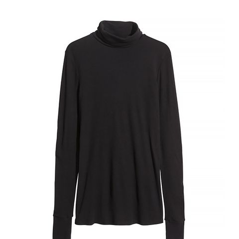 Crêped Cotton Turtleneck