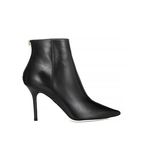 Black Kid Leather Pointy Toe Ankle Boots